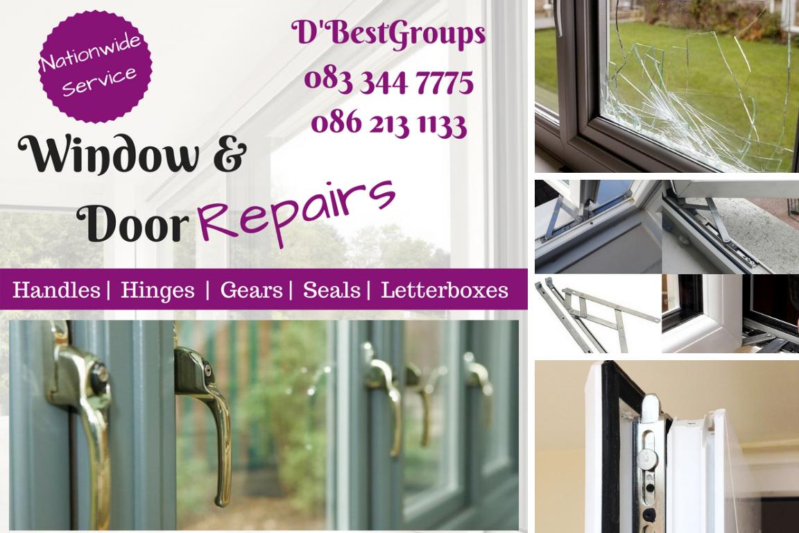 upvc Window & door handles, hinges, seals, letterboxes, vents, adjustments - broken misted glass,