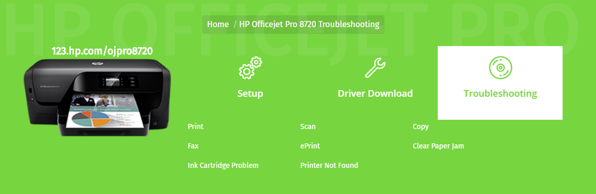 HP ojpro 8720 printer setup & driver download image