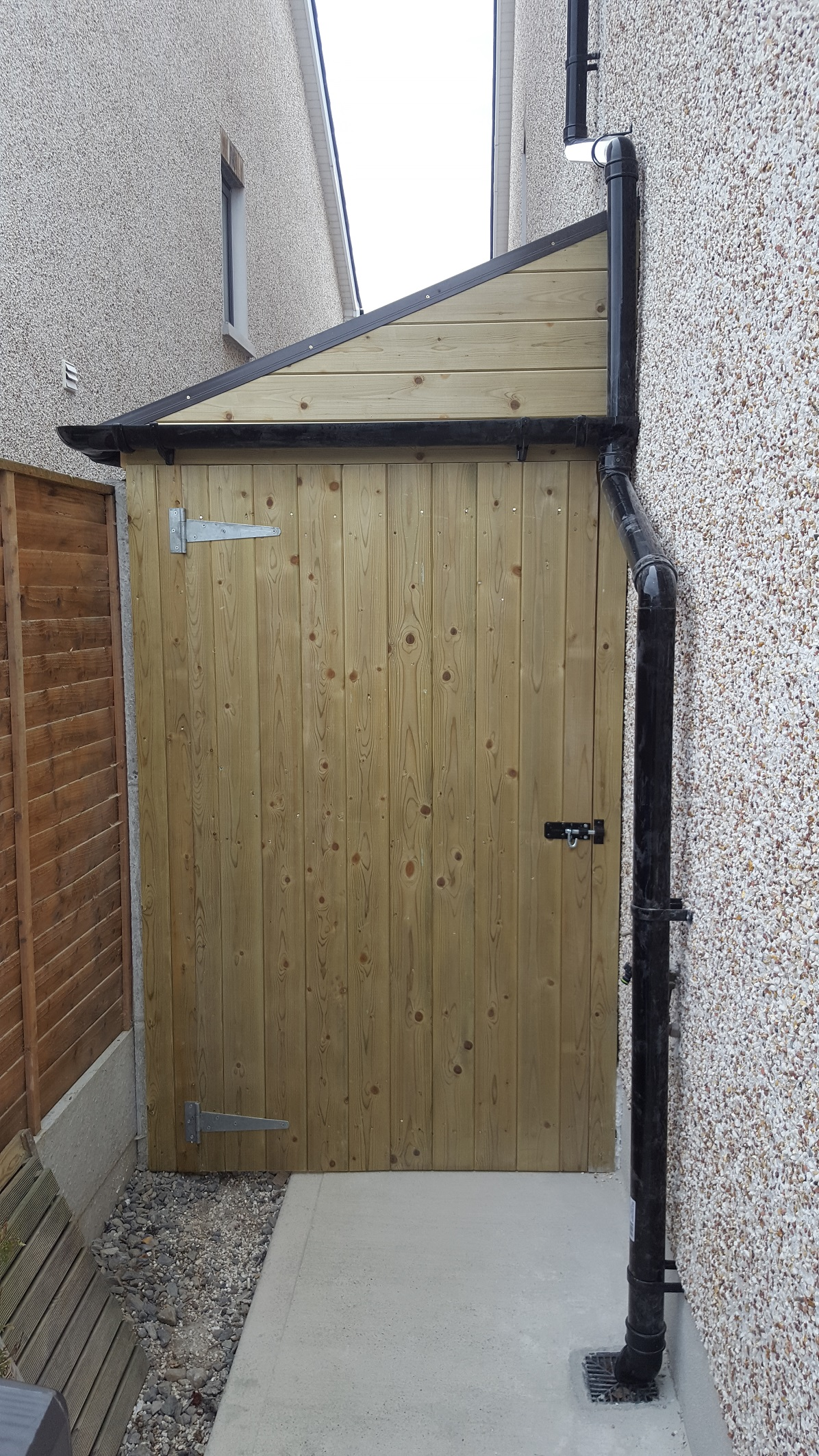 Side entrance passageway with roof, rain shelter, safe, secure bike or toy storage at side of house image 1